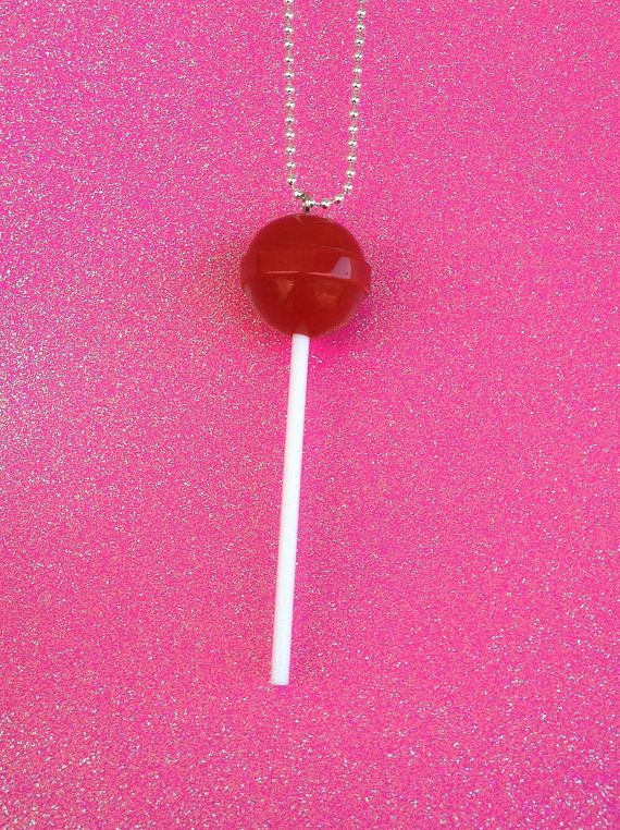 Cherry Red Lollipop Necklace on Etsy, $4.99