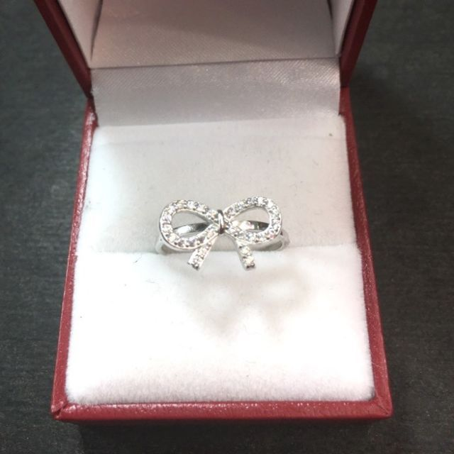 New 0.25 ct Cubic Zirconia 14k Layer On 925 Silver Bow Tie Ribbon Ring Size 7.25 | eBay