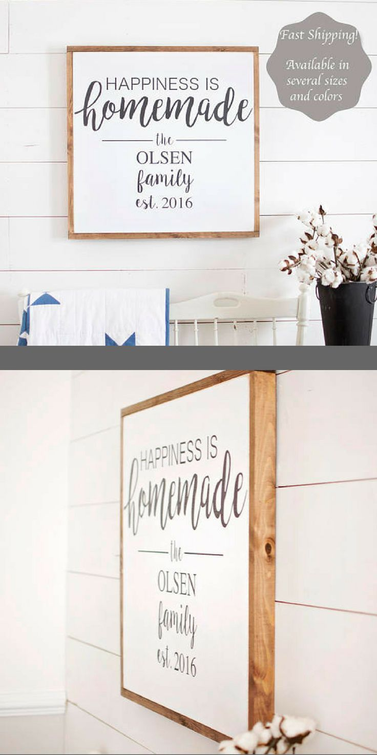 Happiness is Homemade Sign | Happiness is Homemade | Living Room Wall Decor | Happiness is Homemade Wood Sign | Framed Sign | #afflink #HomemadeWallDecorations,