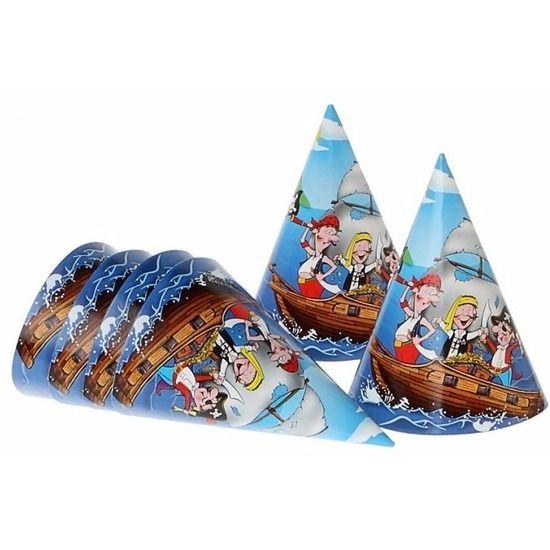 Hoedjes piratenfeestje 6 stuks. Hoedjes blauw in piraten design. Inhoud: 6 stuks. Formaat: 16 cm. Materiaal: karton. Leuke hoedjes voor je piratenfeestje!
