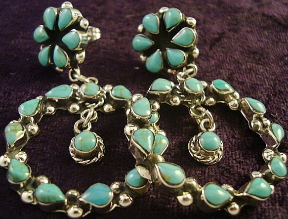 TAXCO MEXICAN STERLING SILVER TURQUOISE FLORAL FLOWER HOOP BEAD EARRINGS MEXICO $79.95