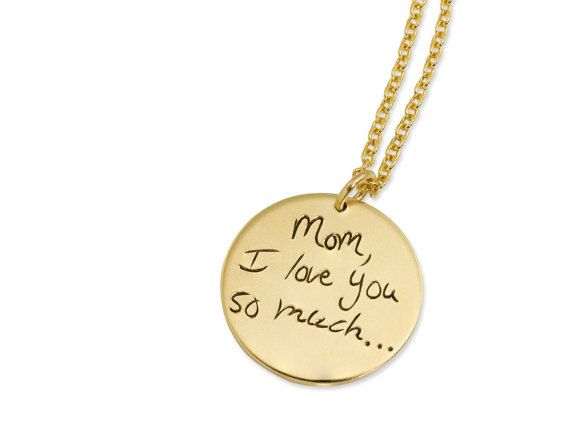 Gold filled handwriting signature memorial jewelry by Megan Goldkamp Jewelry