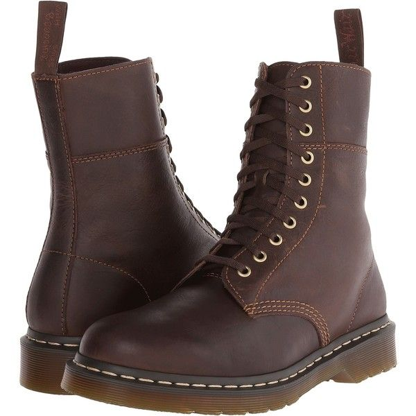 Dr. Martens Bart 10-Eye Boot (Dark Brown Polished Wyoming) Men's... (250 BRL) ❤ liked on Polyvore featuring men's fashion, men's shoes, men's boots, brown, dr martens mens shoes, dark brown mens dress shoes, mens shoes, mens brown shoes and dr martens mens boots