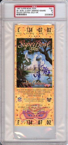 Desmond Howard Autographed/Hand Signed 1997 Super Bowl Ticket MVP PSA/DNA Slabbed #20009939 by Hall of Fame Memorabilia. $241.95. This is an official 1997 Super Bowl Ticket that has been hand signed by the MVP of the game Desmond Howard. It has been authenticated encapsulated by PSA/DNA.