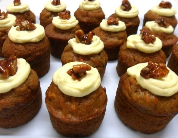 Mini Carrot Cakes with Lemon Cream Cheese & Candied Walnuts