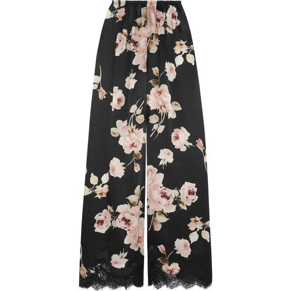 Rosamosario La Donna del Fioraio lace-trimmed floral-print silk-satin... ($650) ❤ liked on Polyvore featuring black and rosamosario