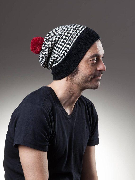 Beanie hat, pompom beanie, Houndstooth pattern, bobble beanie
