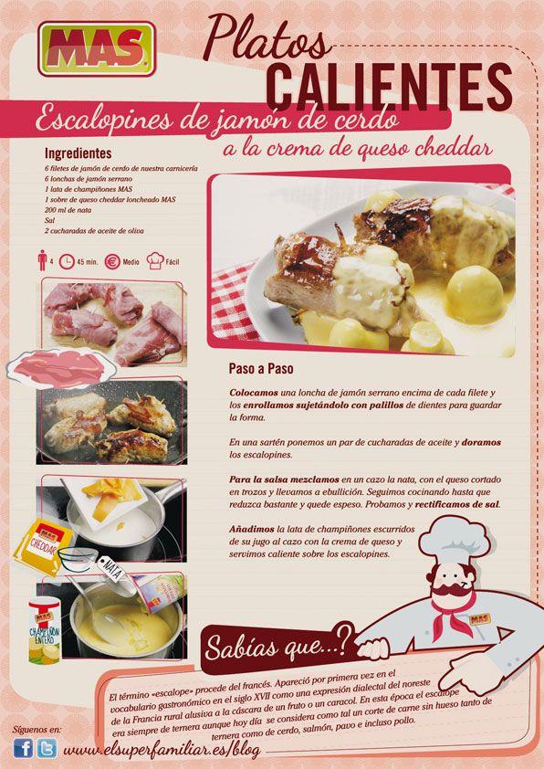 #Receta de escalopines de jamón de cerdo a la crema de queso cheddar, ¡menudo plato! #InfoReceta #Gastronomia