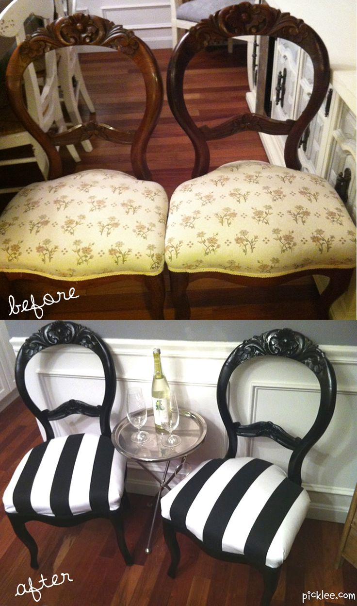 Reclaimed & revived Victorian Balloon Back Chairs-black & white on gloss black