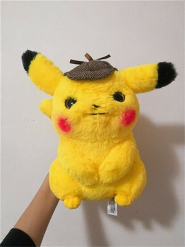 Details About 28cm Pokemon Detective Pikachu Plush Doll Cute Stuffed Soft Toy With Hat Gift With Images Pikachu Plush Plush Dolls Soft Stuffed Animals