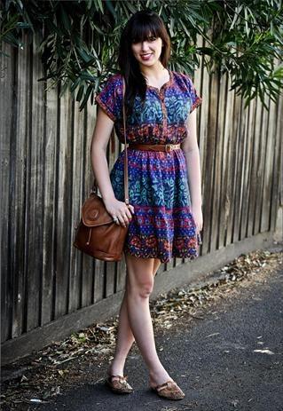 70s style Batik Shirt Dress