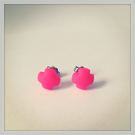 Small Neon Pink Cross Polymer Surgical Steel Earrings | Fawkner St Designs | madeit.com.au