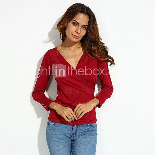 Женский Нарядная Все сезоны Блуза Треугольный вырез с запахом,Простое Однотонный Красный / Черный / Коричневый Длинный рукав,Спандекс,
