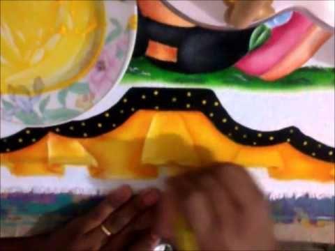 Pintura em tecido barrado falso
