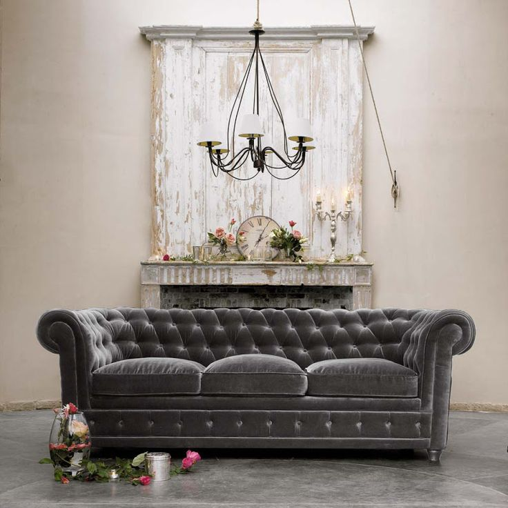 Grey Velvet Chesterfield w/ architectural backdrop. OH MY!