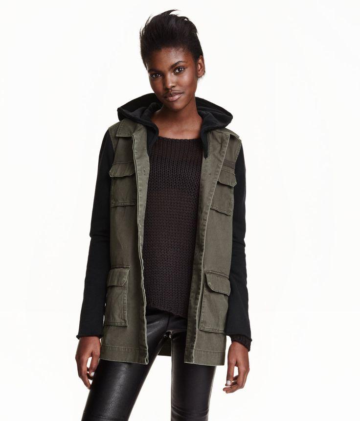 H&M - Cargo Jacket with Hood - Khaki green - Ladies • H&M • $49.99