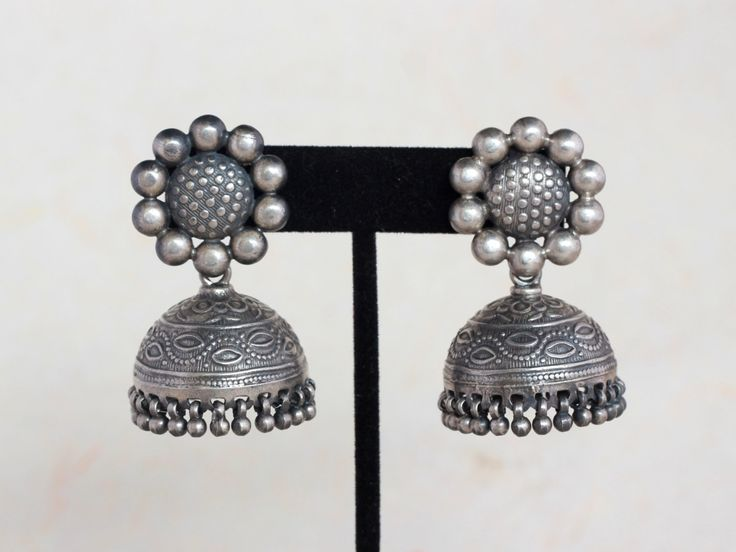 Sterling Silver Oxidised Jhumka, Antique finish Jaipur Jumka Earring by…