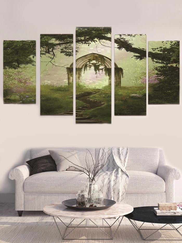 Unframed Forest Arch Split Canvas Paintings Canvas Wall Art Set Cheap Canvas Wall Art Cheap Wall Art