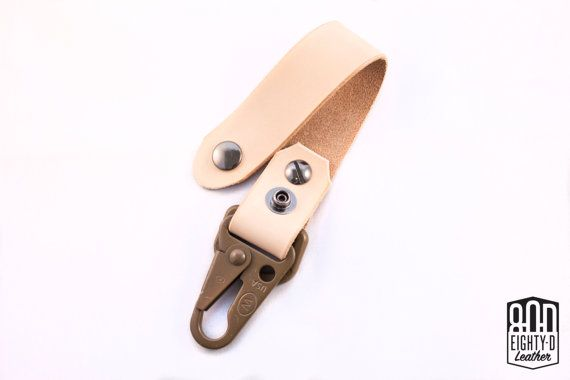 Natural Leather Belt Loop Keychain with Authentic Military ITW HK Snap Hook