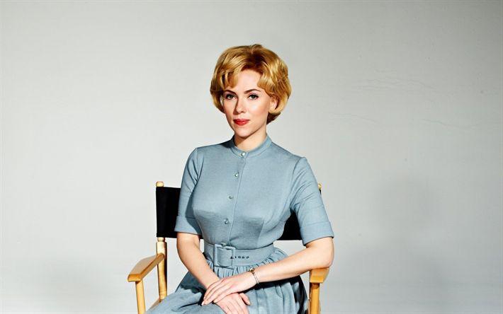 Download wallpapers Scarlett Johansson, american actress, retro, 2017, blue dress, blond, beautiful woman