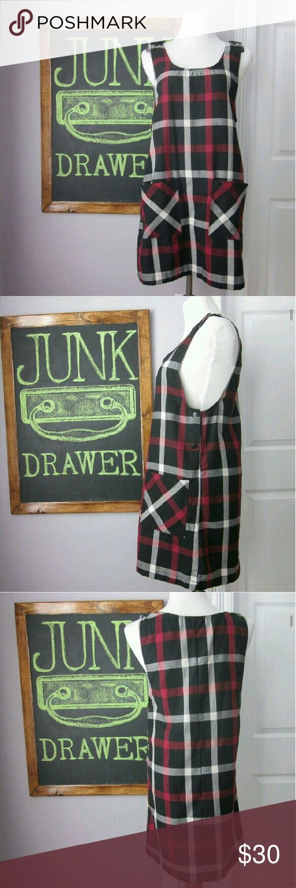 """Vintage Plaid Pinafore Jumper Dress Sm Gently worn - great condition! So cute for fall. 90s schoolgirl look. Missing a button under Lee arm (pic 2 it would be between the 2 You see). You could leave it... Would never notice OR use one of the extra buttons in straps to replace. Straps have 2 buttons each to choose length best for you. 65% poly 35% rayon. Pennylane brand. Bust 19"""". Length 33.5""""  Bundle for best deals! Hundreds of items available for discounted bundles!   Instagram…"""