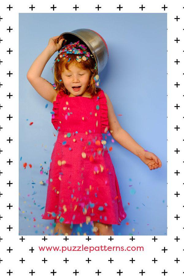 PDF sewing pattern, Girls, Romper, Dress, Ruffled, Ruffles, Pinafore, Puzzle Patterns.