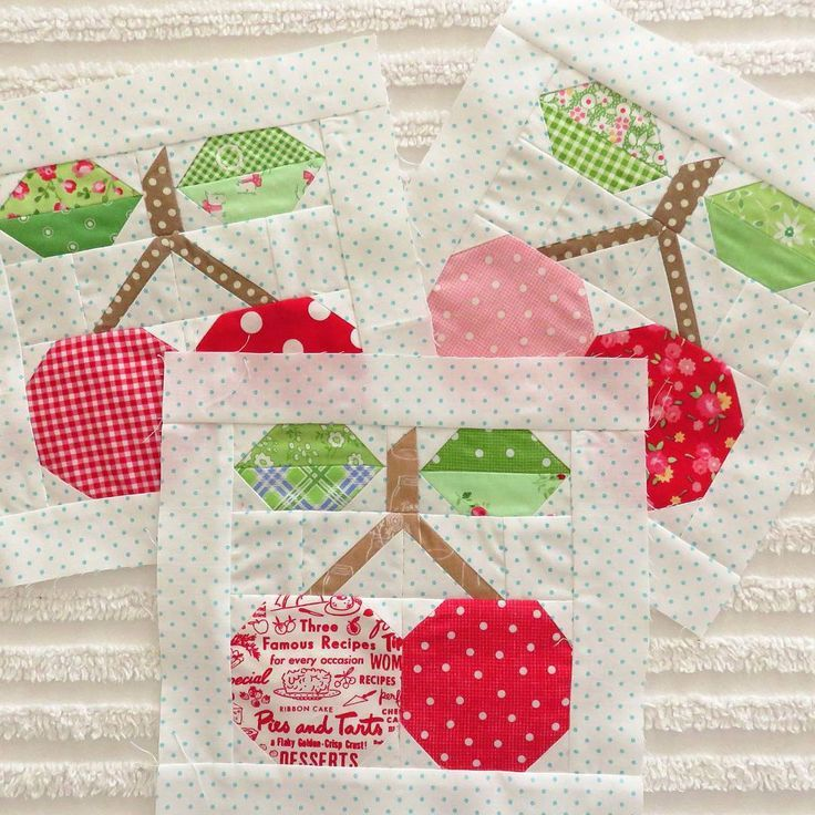 pie cherry block | really like Pam Kitty's fabric selections ...