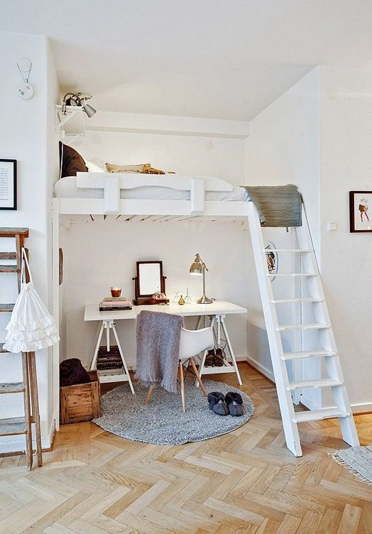 Bedroom designs: Great space saver with this loft bed and desk setup. More design ideas here: http://www.homechanneltv.com/design-bedrooms.html
