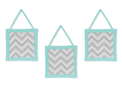 Buy Turquoise and Gray Chevron Zig Zag wall hangings by Sweet Jojo Designs and add a fun modern touch to your walls. Free Shipping, Great Service!