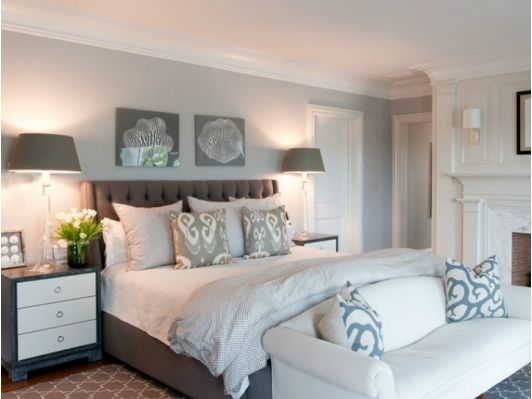 Coastal bedroom with upholstered headboard-Home and Garden Design Ideas