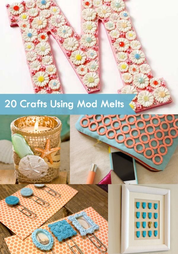 Have you heard of Mod Melts? They are the new Mod Podge product that allows you to make your own embellishments. Get 20 inspirational craft ideas!