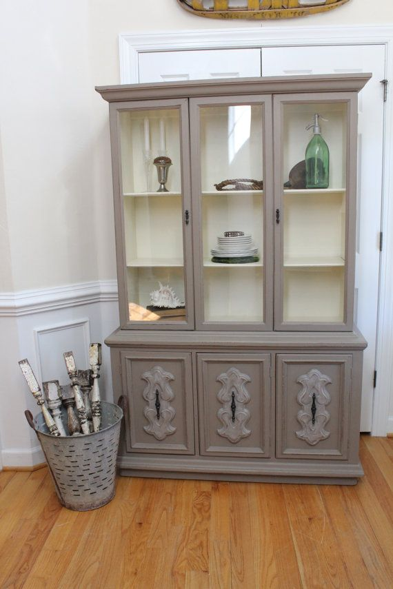 Vintage China Cabinet - Annie Sloan Chalk Paint - Coco - Old White - Curio Cabinet - Bookcase
