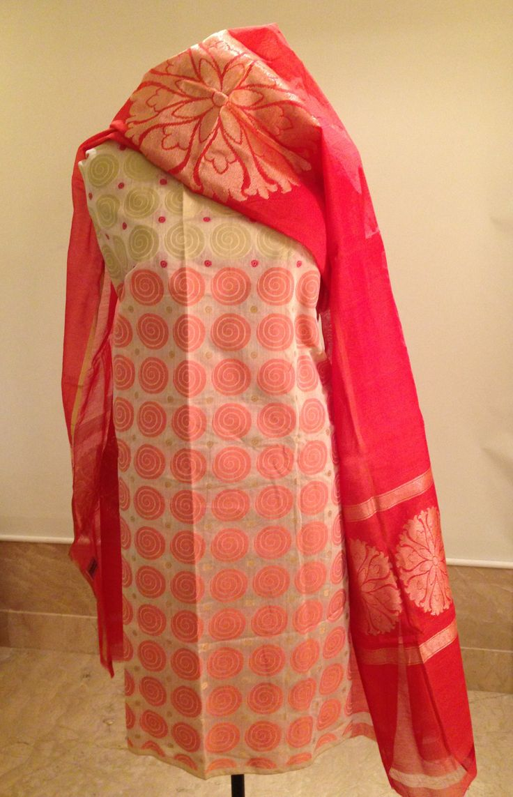 Chanderi shirt and Chanderi dupatta with woven zari. For orders and inquiries, please mail us at naari@aninditacreations.com.  Like us at www.facebook.com/naari.aninditacreations