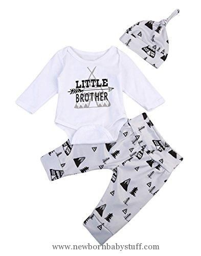 Baby Boy Clothes 3PCS Newborn Baby Boys Cute Letter Print Romper+Camouflage Pants+Hat Outfits Set (0-6 M, Little Brother)