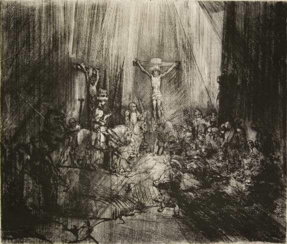 Gravure de Rembrandt Christ crucifié