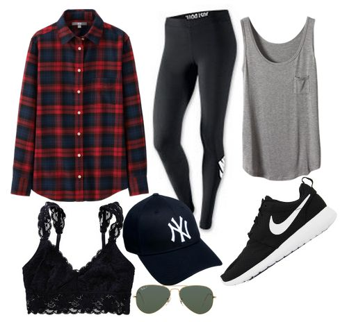 Kendall inspired outfit to wear to the Zoo. Flannel bralette leggings hat glasses tank shoes