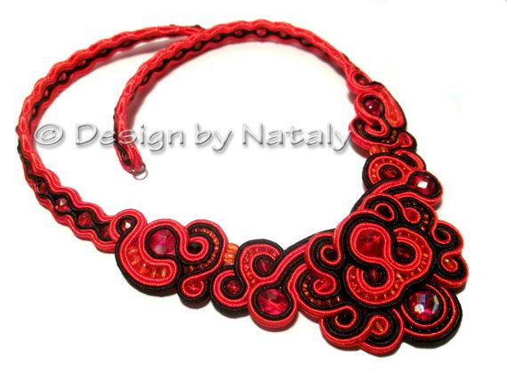 FREE SHIPPING  Soutache Jewelry Necklace Passion by DesignByNataly, $50.00