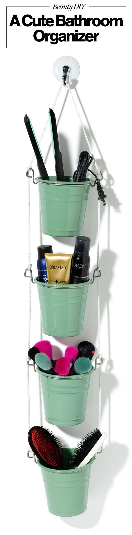 A cute DIY crafty project for beauty product storage in the bathroom