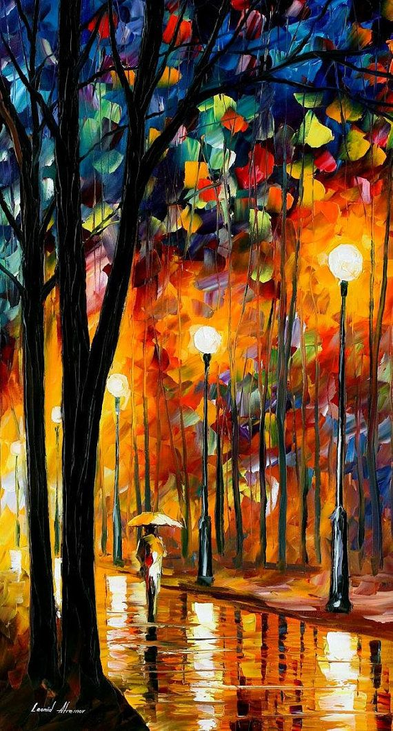 tall painting Misty Glow tall oil painting by AfremovArtStudio