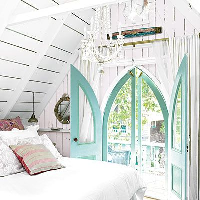 airy: Decor, Turquoise Door, The Doors, Beach Cottages, Attic Bedrooms, Cottages Bedrooms, Dreams House, Southern Charm, Attic Room