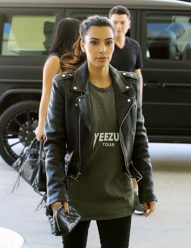 Yeezus Tour  T-Shirt, Cropped Leather Biker Jacket & J Brand 912 Low-Rise Pencil Leg Jeans in Torn Jett