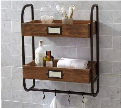 american retro industriële leidingen bad badkamer handdoek rek houten frame wandplank wandplank