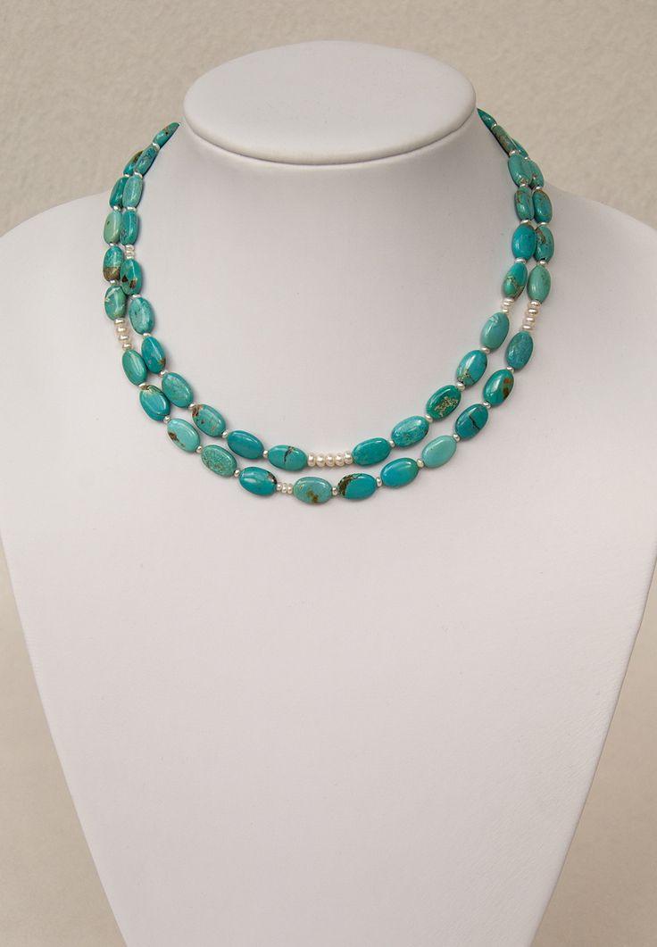 Zarte Türkis-Kette mit Zuchtperlen | Delicate turquoise necklace with pearls | atelier ie.