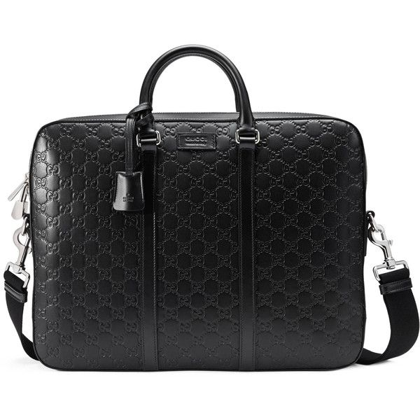 Gucci Signature Leather Briefcase ($1,995) ❤ liked on Polyvore featuring men's fashion, men's bags, men's briefcases, black and mens leather briefcase