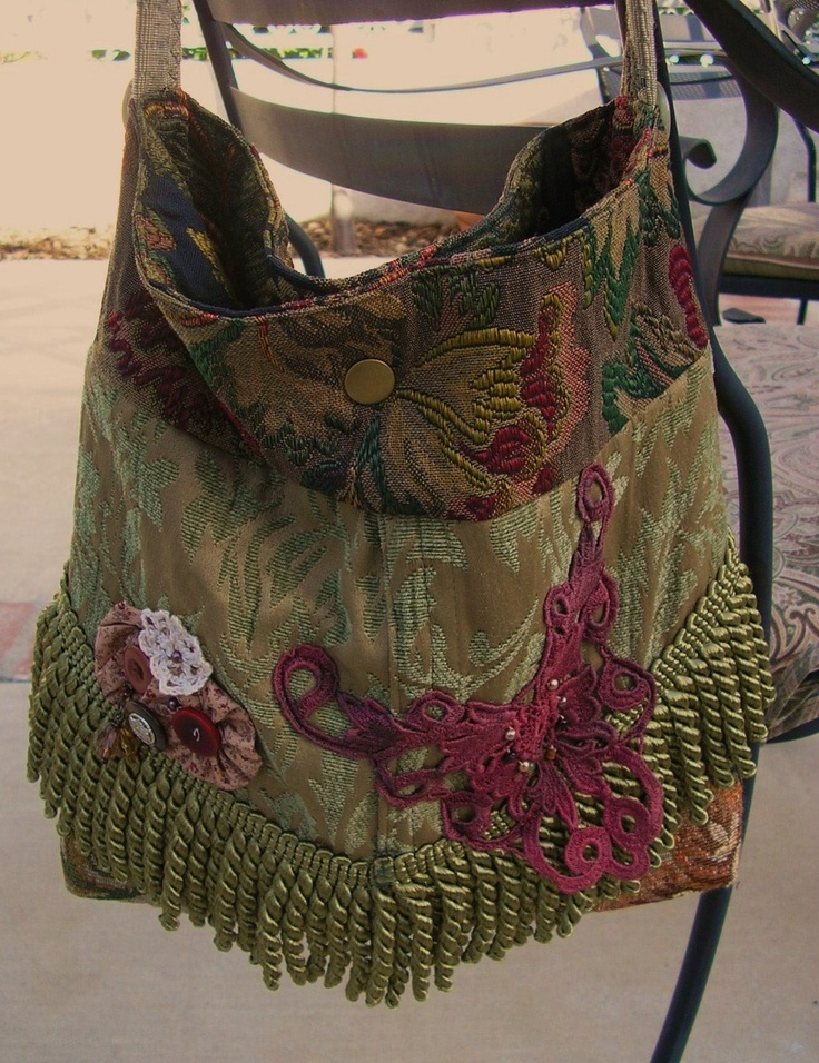 Bohemian Sage Purse, thick tapestry fabric