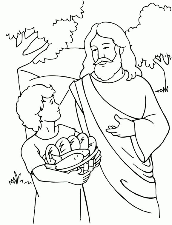 Jesus Feeding 5000 Coloring Page