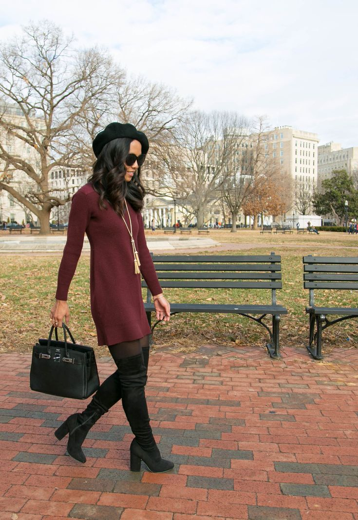 Burgundy Sweater Dress + OTK Boots