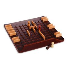 """Do you get your pawn to the opposite side of the board, or put up a fence to slow your opponent? The choices don't come easily in this well-crafted game of mazes and madness. 10""""-square wooden board, 20 fences, 4 wooden pawns. 2 to 4 players."""