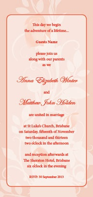 Coral Floral Wedding Invitation   Print Your Own   Devereux Creative |  Toowoomba | Cambooya