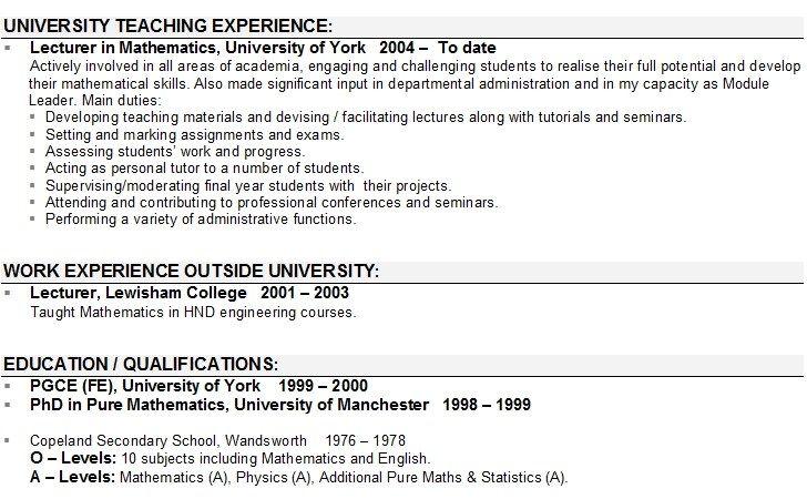Lecturer Cv Sample Teacher Resume Template Teacher Resume Examples Resume Objective
